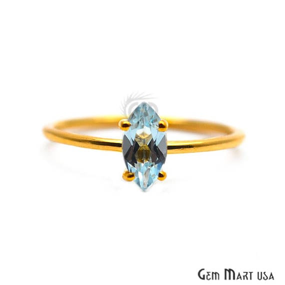 Blue Topaz Gold Plated Ring, Adjustable Fashion Jewelry Statement Ring (GPRG-12001)