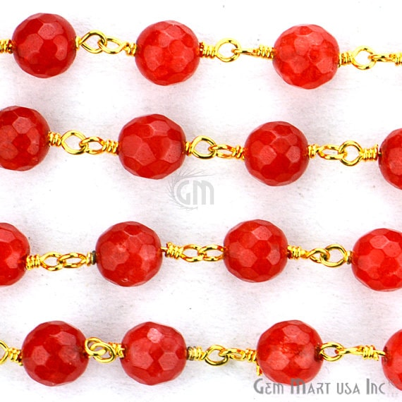 Red Jade 6mm Beads Chain, Gold Plated wire wrapped Rosary Chain, Jewelry Making Supplies (Gprj-30014)