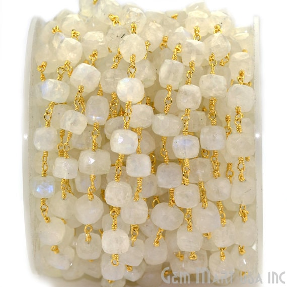 Rainbow Moonstone 5-6mm Box Beads Chain, Gold Plated wire wrapped Rosary Chain, Jewelry Making Supplies (GPRM-30008)