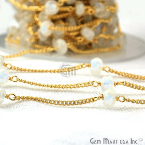 Rainbow Moonstone Rondelle 5-6mm Gold Plated Wire Wrapped Rosary Chain - GemMartUSA