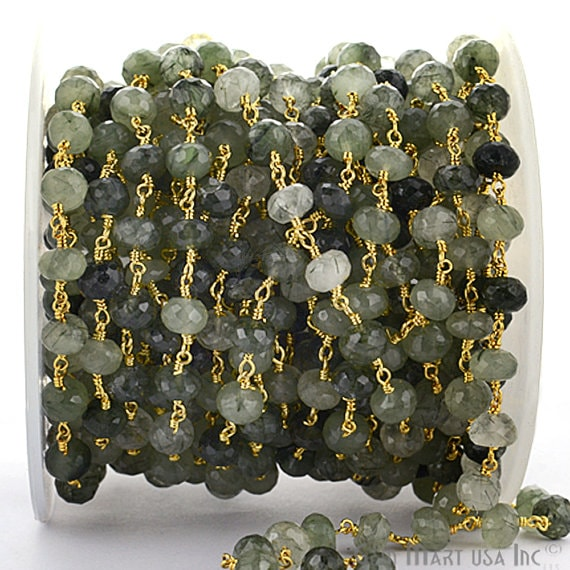Green Rutilated Rondelle Beads Chain, Gold Plated wire wrapped Rosary Chain, Jewelry Making Supplies (GPRT-30035)