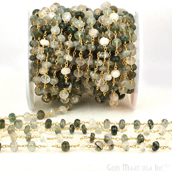 Green Rutilite Beads Chain, Gold Plated wire wrapped Rosary Chain, Jewelry Making Supplies (GPRT-30036)
