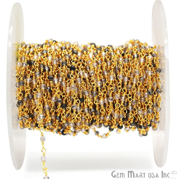Rutilated Beads Chain, Gold Plated wire wrapped Rosary Chain, Jewelry Making Supplies (GPRU-30000)