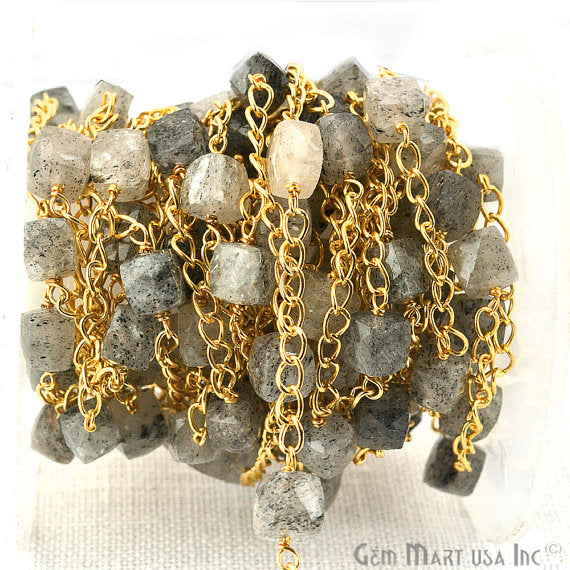 Rutilated Beads Chain, Gold Plated wire wrapped Rosary Chain, Jewelry Making Supplies (GPRU-30032)