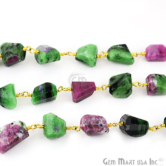 Ruby Zoisite Fancy Cut Beads 24k Gold Plated Wire Wrapped Rosary Chain (GPRZ-30041)