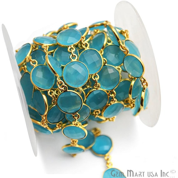 Sky Blue Chalcedony Connector Chain, Gold Plated Bezel Continuous Connector Chain, Jewelry Making Supplies (GPSB-20008)