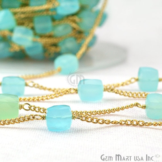 Sky Blue Chalcedony 6-7mm Box Beads Chain, Gold Plated wire wrapped Rosary Chain, Jewelry Making Supplies (GPSB-30032)