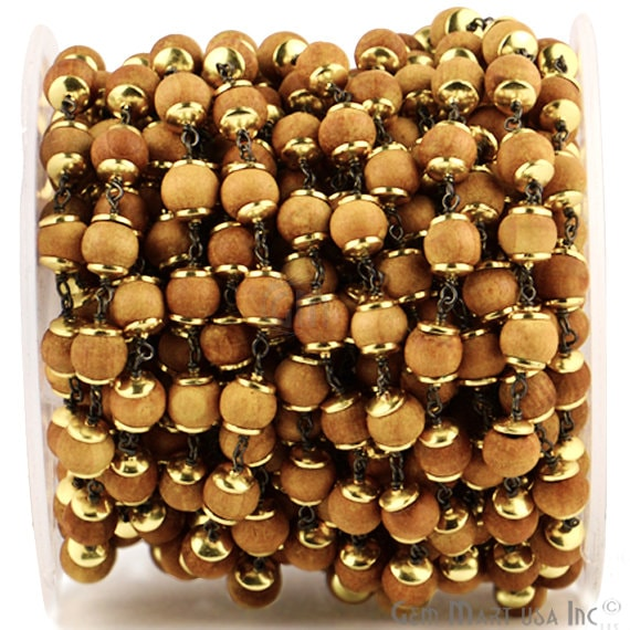 Desert Sand Wooden 7-8mm Beads Chain, Black Plated wire wrapped Rosary Chain, Jewelry Making Supplies (GPSD-30035)