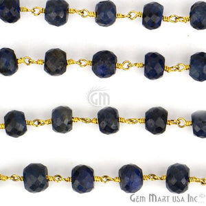 Sapphire 6-7mm Beads Chain, Gold Plated Wire Wrapped Rosary Chain - GemMartUSA