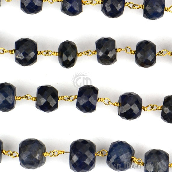 Blue Sapphire Rondelle 9-10mm Beads Chain, Gold Plated wire wrapped Rosary Chain, Jewelry Making Supplies (GPSH-30037)