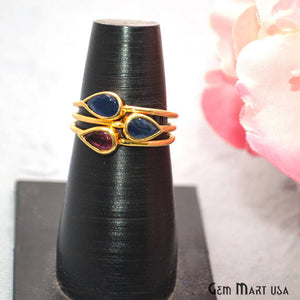 Sapphire With Rhodolite 8x5mm Gemstone Gold Vermeil Wedding Ring - GemMartUSA