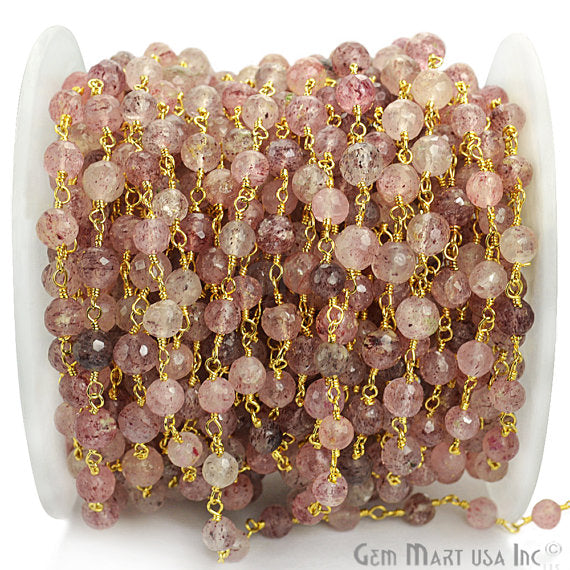 Strawberry Quartz Beads Chain, Gold Plated wire wrapped Rosary Chain, Jewelry Making Supplies (GPSQ-30038)