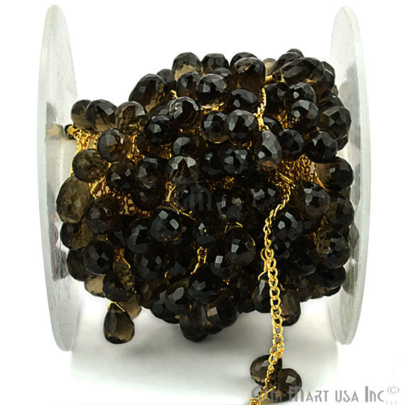 Smokey Topaz Beads Chain, Gold Plated wire wrapped Rosary Chain, Jewelry Making Supplies (GPST-30072)