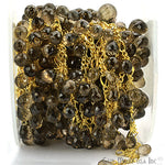 Smokey Topaz Beads Chain, Gold Plated wire wrapped Rosary Chain, Jewelry Making Supplies (GPST-30073)