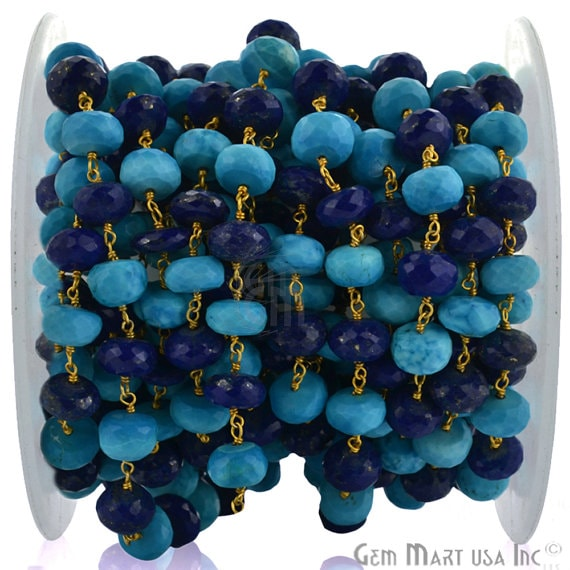 Turquoise 8-9mm With Lapis 8-9mm Beads Chain, Gold Plated wire wrapped Rosary Chain, Jewelry Making Supplies (GPTA-30039)