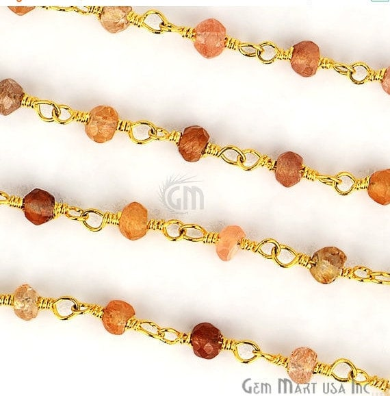 Copper Rutile 3-3.5mm Gold Plated Wire Wrapped Beads Rosary Chain