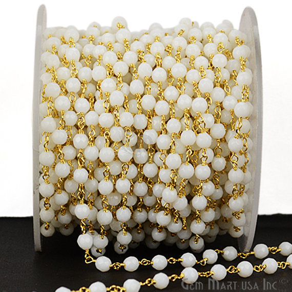 White Agate Beads Chain, Gold Plated wire wrapped Rosary Chain, Jewelry Making Supplies (GPTJ-30017)