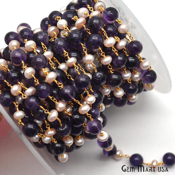 Amethyst & Pink Pearl Beads Chain, Gold Plated wire wrapped Rosary Chain, Jewelry Making Supplies (GPTK-30092)