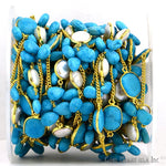 Turquoise Beads With Pearl Connector 10-15mm Mix Shapes 24k Gold Plated Bezel Connector Chain (GPTL-20023)