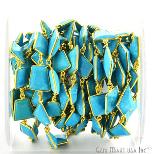 Turquoise 10-15mm Mix Faceted Gold Bezel Continuous Connector Chain