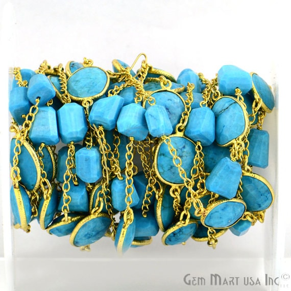 Turquoise 10mm Mix Shapes 24k Gold Plated Bezel Rosary Connector Chain (GPTQ-20022)