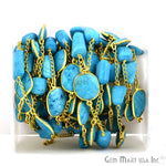Turquoise 10-15mm Mix Shapes 24k Gold Plated Bezel Rosary Connector Chain (GPTQ-20024)