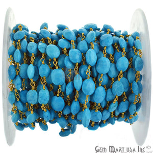 Turquoise 7x9mm Oval Gold Plated Wire Wrapped Beads Rosary Chain
