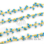 Turquoise Cluster Dangle Chain, Gold Plated wire wrapped Beads Rosary Chain, Jewelry Making Supplies (GPTQ-30019)