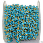 Turquoise Cluster Dangle Chain, Gold Plated wire wrapped Beads Rosary Chain, Jewelry Making Supplies (GPTQ-30020)