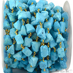 Turquoise Beads Chain, Gold Plated wire wrapped Rosary Chain, Jewelry Making Supplies (GPTQ-30041)