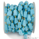 Turquoise Beads Chain, Gold Plated wire wrapped Rosary Chain, Jewelry Making Supplies (GPTQ-30042)