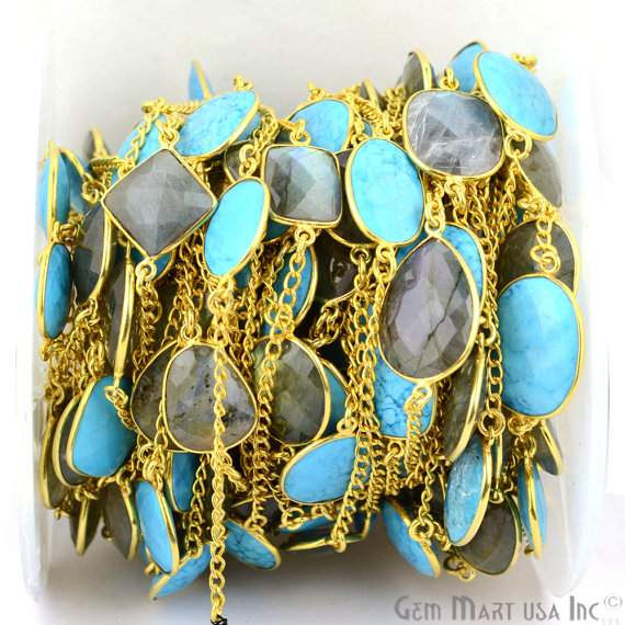 Turquoise With Labradorite 10-15mm Connector Chain, Gold Plated Bezel Connector Link Rosary Chain, Jewelry Making Supplies (GPTR-20002)