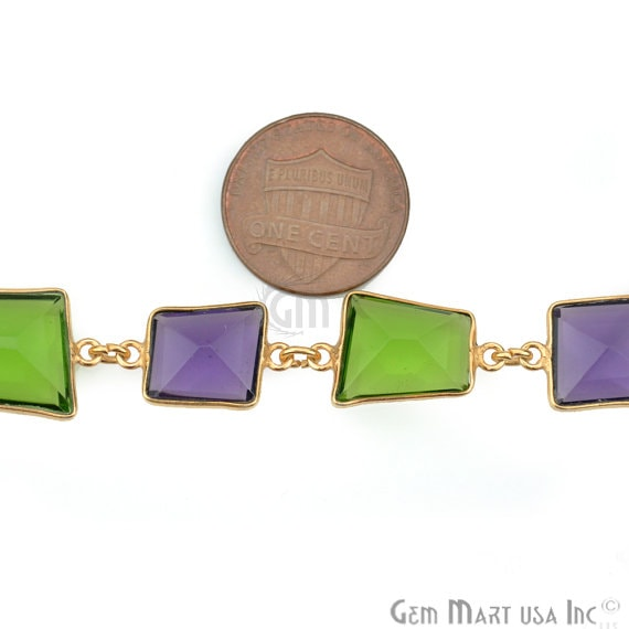Amethyst with Peridot Connector Chain, Gold Plated Bezel Continuous Connector Chain, Jewelry Making Supplies (GPTT-20008)