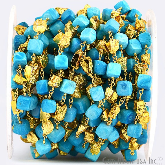Turquoise Box with Golden Pyrite Nugget 6-7mm Freeform Beads Chain, Gold Plated wire wrapped Rosary Chain, Jewelry Making Supplies (GPUG-30009)