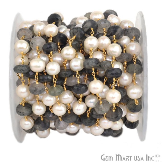 Rutilated with Pearl 8-9mm Beads Chain, Gold Plated wire wrapped Rosary Chain, Jewelry Making Supplies (GPUP-30039)
