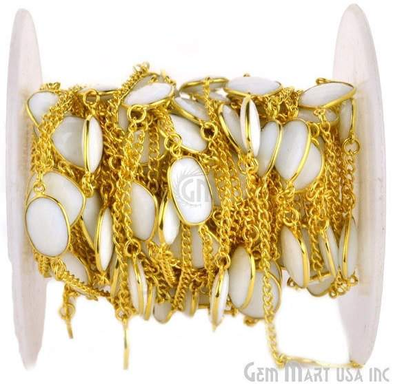 White Agate 10-15mm Connector Chain, Gold Plated Bezel Connector Link Rosary Chain, Jewelry Making Supplies (GPWA-20002)