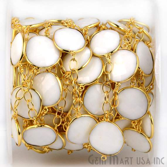 White Agate 15mm Connector Chain, Gold Plated Bezel Connector Link Rosary Chain, Jewelry Making Supplies (GPWA-20003)