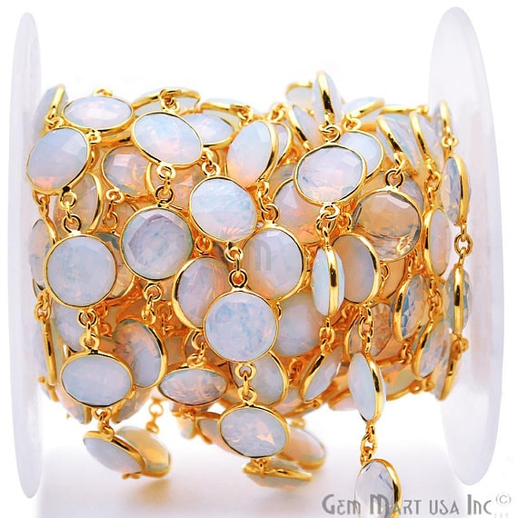 White Opal Connector Chain, Gold Plated Bezel Continuous Connector Chain, Jewelry Making Supplies (GPWO-20008)