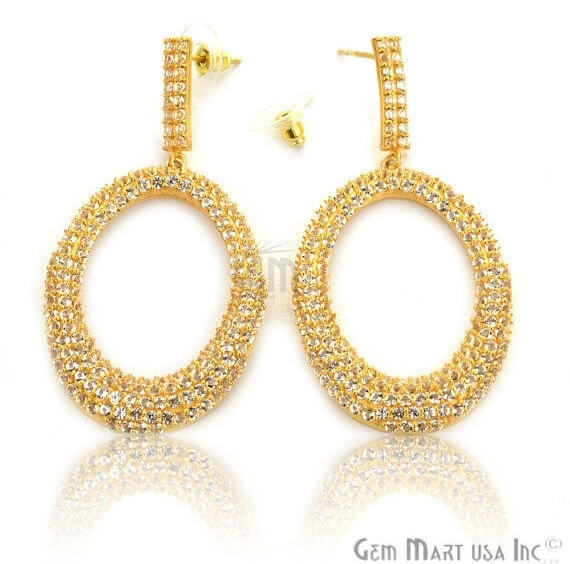 Gold Vermeil Studded With Micro Pave White Topaz 65x33mm Dangle Earring
