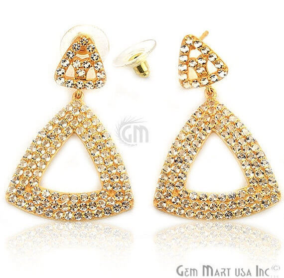 Gold Vermeil Studded With Micro Pave White Topaz 45x29mm Dangle Earring