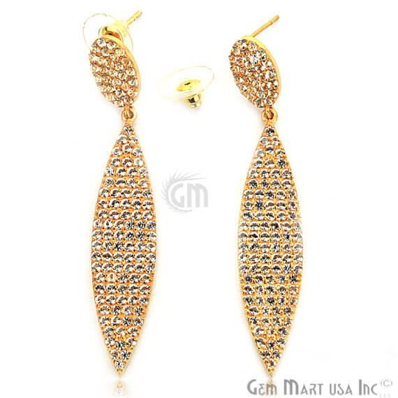 Gold Vermeil Studded With Micro Pave White Topaz 70x12mm Dangle Earring
