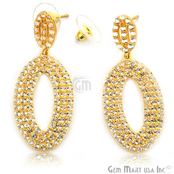 Gold Vermeil Studded With Micro Pave White Topaz 48x20mm Dangle Earring