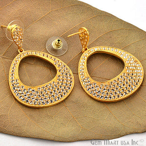 Gold Vermeil Studded With Micro Pave White Topaz 51x34mm Dangle Earring