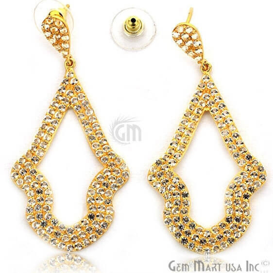 Gold Vermeil Studded With Micro Pave White Topaz 63x30mm Dangle Earring