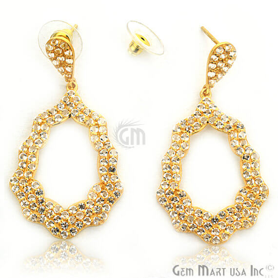 Gold Vermeil Studded With Micro Pave White Topaz 53x27mm Dangle Earring