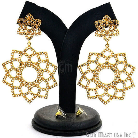 Gold Vermeil Studded With Micro Pave White Topaz 76x41mm Dangle Earring