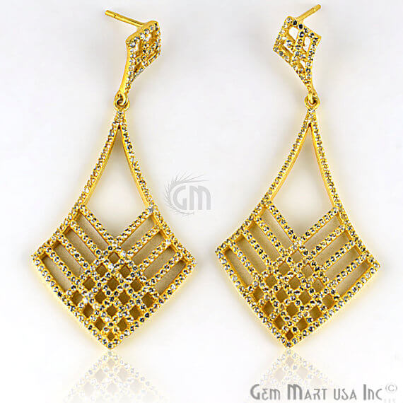Gold Vermeil Studded With Micro Pave White Topaz 29x60mm Dangle Earring