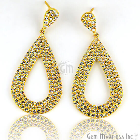 Gold Vermeil Studded With Micro Pave White Topaz 26x60mm Dangle Earring