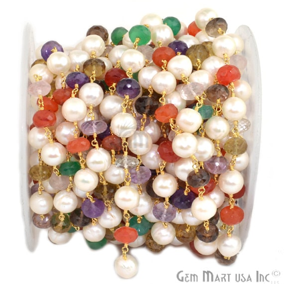 Multi Stone 7-9mm Rondelle Beads Chain, Gold Plated wire wrapped Rosary Chain, Jewelry Making Supplies (GPXP-30035)