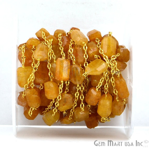 Yellow Aventurine 10-15mm Mix Shapes 24k Gold Plated Bezel Wire Wrapped Rosary Chain (GPYA-20025)